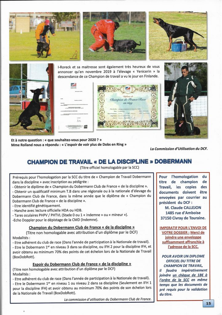 Article Dobermann Club de France I-Roreck Rasham von Bolcanstern
